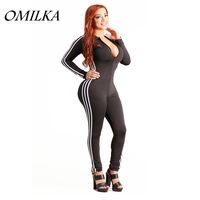 OMILKA 2017 Autumn Women Long Sleeve V Neck Side Striped Front Zipper Bodycon Rompers and Jumpsuits Sexy Club Party Overall