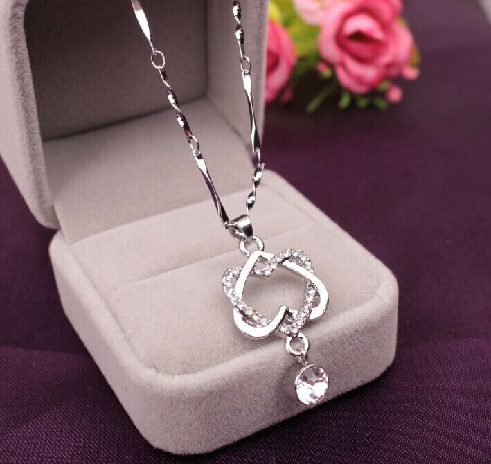 Saatleri Fashion Women Double Heart Pendant Necklace Chain Jewelry 2017 New Arrival necklace free shipping choker anime panda
