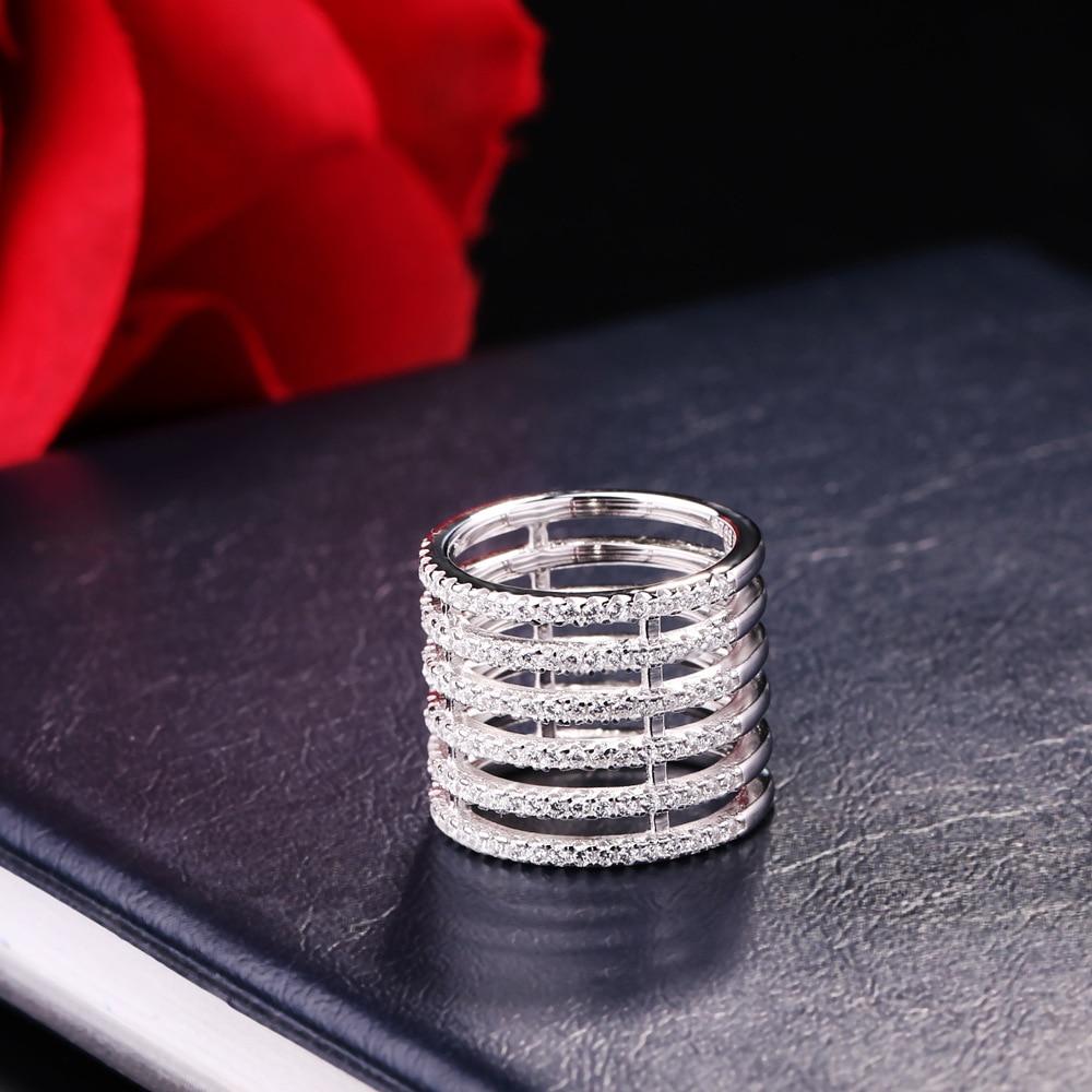 Многослойная 6-row Ring 925 пробы серебро с цирконом подходит APM Monaco ювелирные изделия с Для женщин Jewelry вечерние подарки