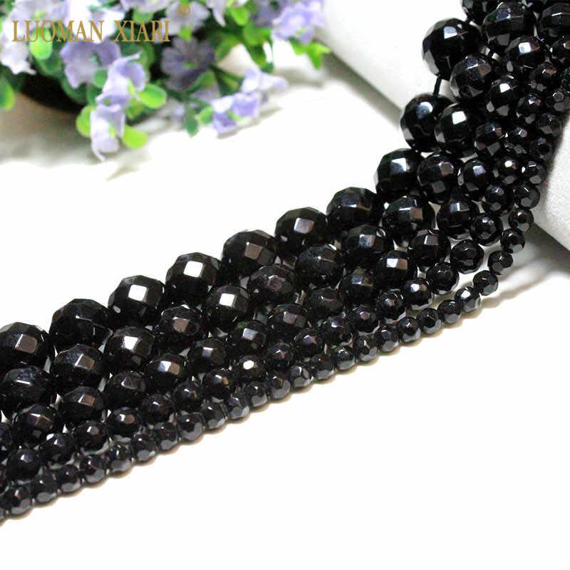 סיטונאי פיאות שחור חרוזים טבעי אבן חרוזים עבור תכשיטי ביצוע צמיד DIY חומר 4/6/8/10 /12mm סטרנד טבעי 15''