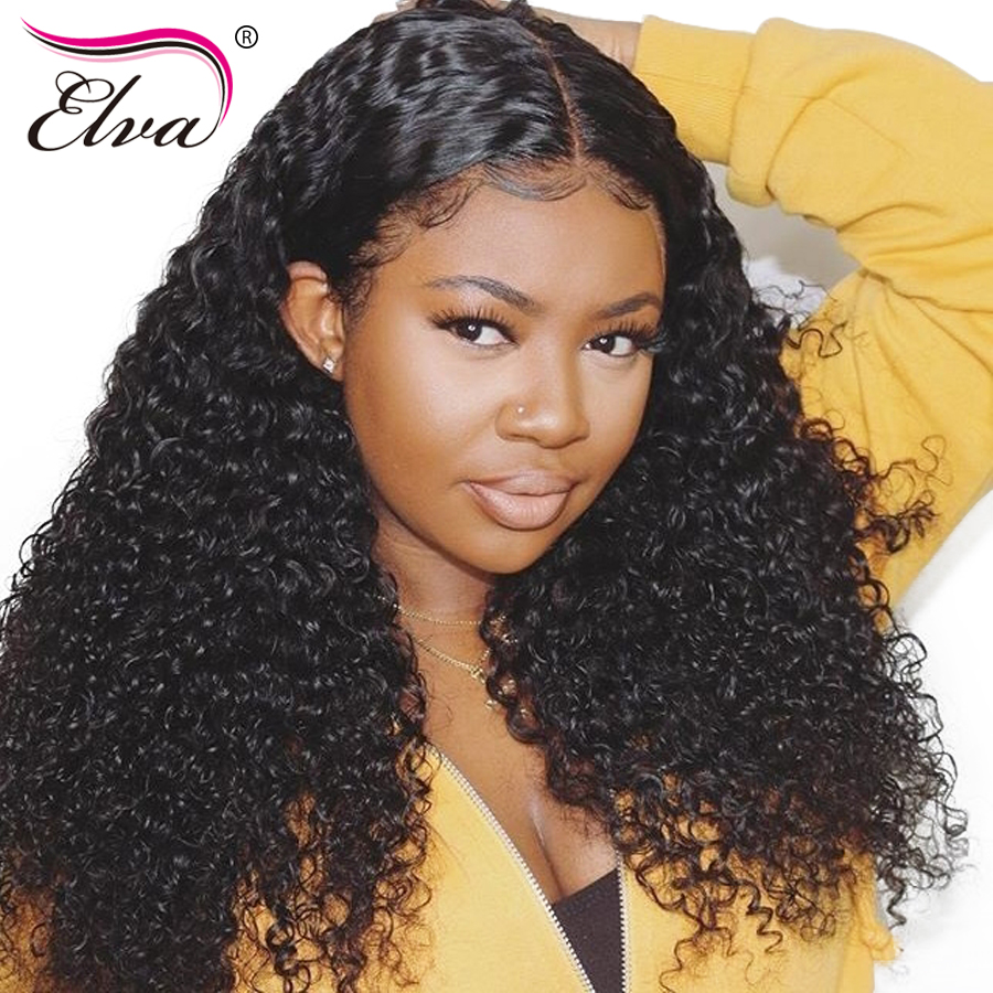 Elva Hair Curly Lace Front Human Hair Wigs For Black Women Brazilian Remy Hair 13 By 6 Lace Wigs Pre Plucked With Baby Hair