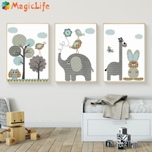 Cartoon Giraffe Rabbit Elephant Animals Wall Art Canvas Painting Nordic Poster Pictures  Baby Nursery Rooms Home Decor