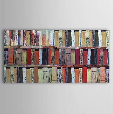 Handmade Modern Abstract Oil Painting Bookshelf Wall Art Home Decort Canvas Pictures For Living Room In Calligraphy