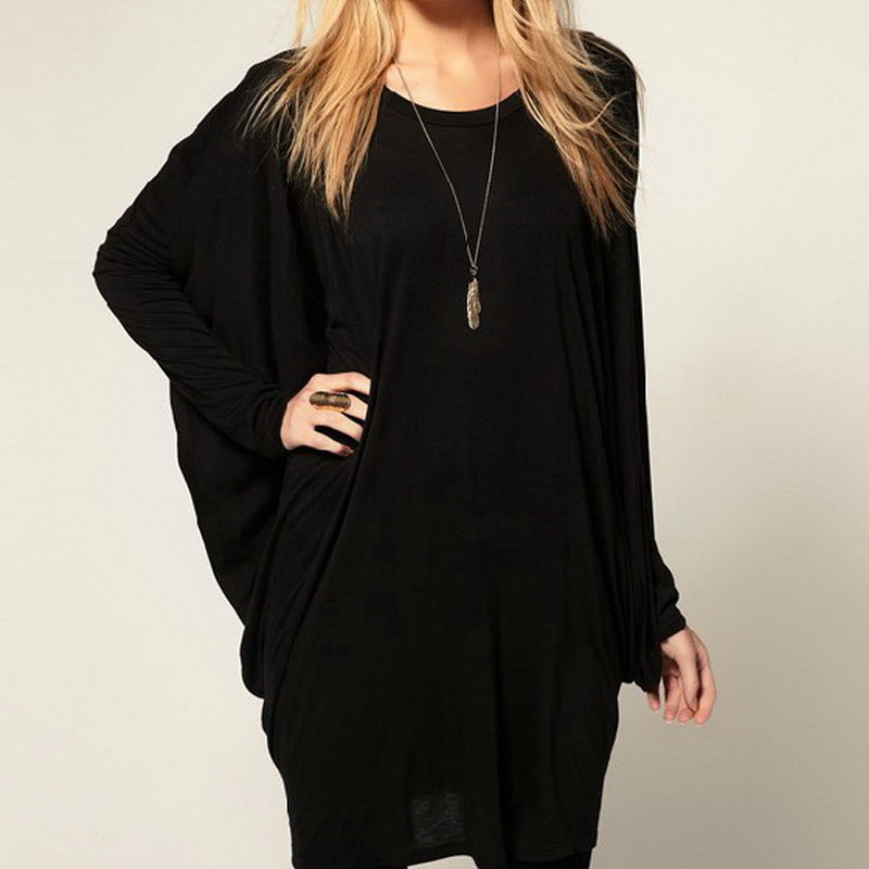 2015 Autumn Women Blusas Casual Loose Black Batwing Shirt Long ...