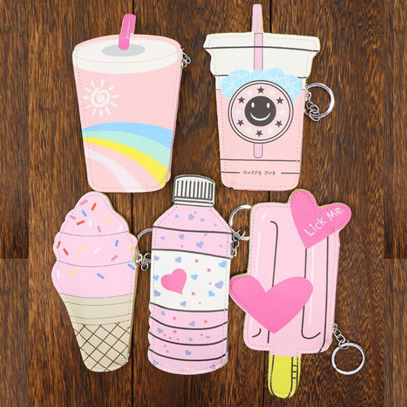 Cartoon Women Coin Purses Holders And Handbags Cute Icecream Bottle Leather Pouch Kawaii Children Wallet Small Keys Bag Carteira xydyy 2017 new women coin purses or handbags cute cartoon pu leather mini pouch kawaii children wallet small bag for keys