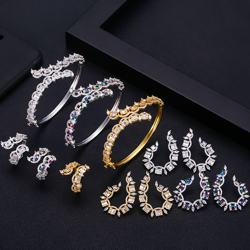 Accking Fashion Luxury AAA Cubic Zirconia Women Bracelet Bangle And Ring  Earring Set with free shippingAccking Fashion Luxury AAA Cubic Zirconia Women Bracelet Bangle And Ring  Earring Set with free shipping