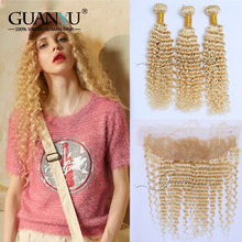 Guanyuhair #613 platinum Blonde Peruvian Deep Wave Remy Human Hair Weave 3 Bundles With 13x4 Lace Closure Free Part(China)