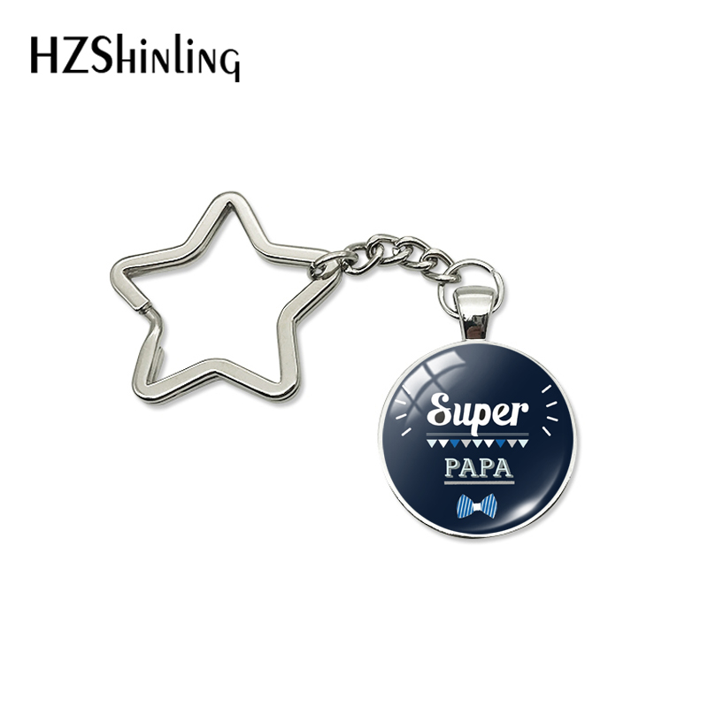 New Fashion Je T'aime Papa Star Keychain Fathers Gifts Super Papa I Love Dad French Art Key Chain Ring Holder Men Jewelry