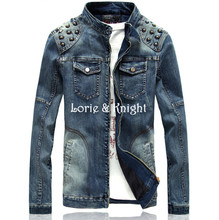 Spring & Autumn Outfit Mens Slim Fit Demin Studded Jeans Punk Jacket BLUE