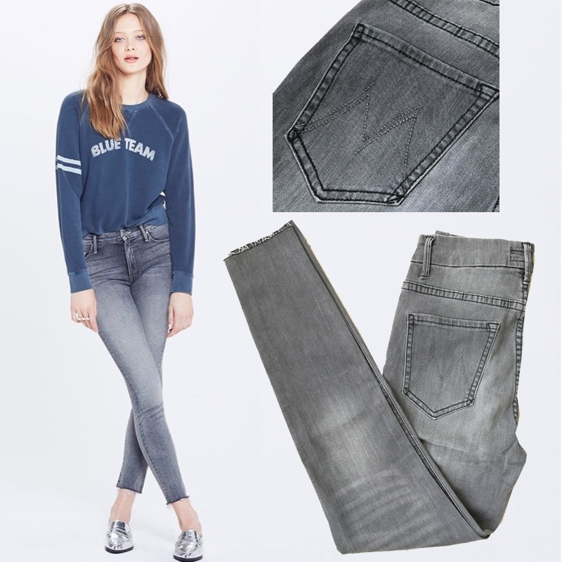 NEW Design 2017 Autumn Winter Women Fashion Smoky Gray Flashes Skinny Jeans Europe Street Style Slim Fit Denim Pencil Pants women jeans autumn new fashion high waisted boyfriend street style roll up bottom casual denim long pants sp2096