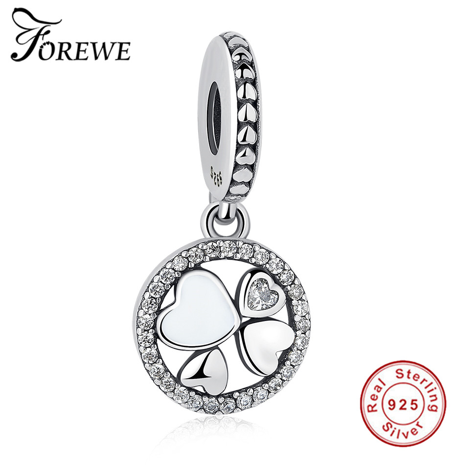 authentic 925 sterling silver Lucky Clover Friends Forever Pendant Charm Beads