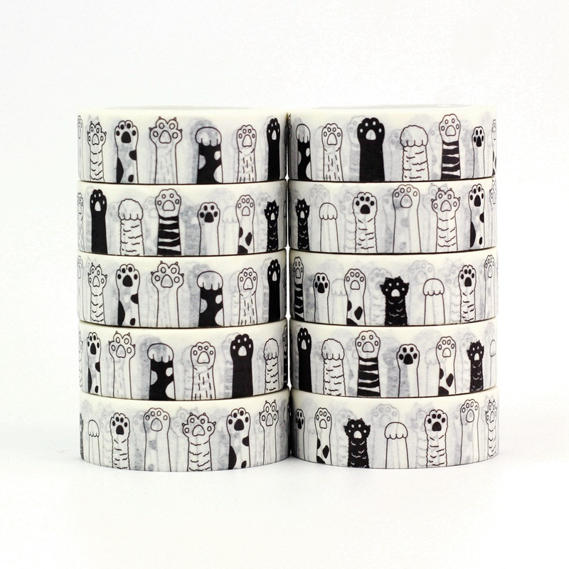 10pcs/lot Cute Black And White Cat Paw Washi Tapes Paper DIY Decor Scrapbooking Planner Adhesive Masking Tapes Kawaii Stationery
