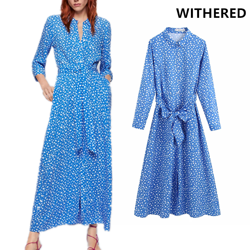 Withered Dress Women High Street Floral Printing Sashes Collect Waist Vestidos Vestidos De Fiesta De Noche Maxi Dress Blazer