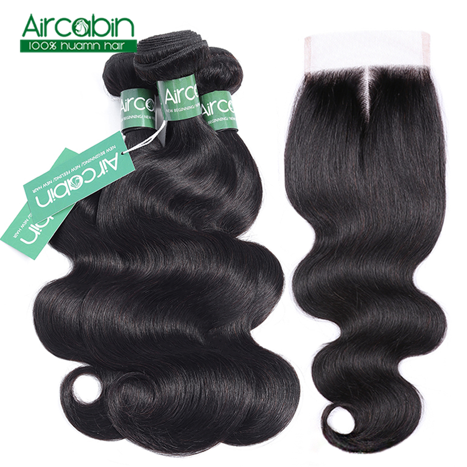 Aircabin Hair Body Wave Bundles With Closure Peruvian Hair Weave Bundles With Closure Human Hair Bundles