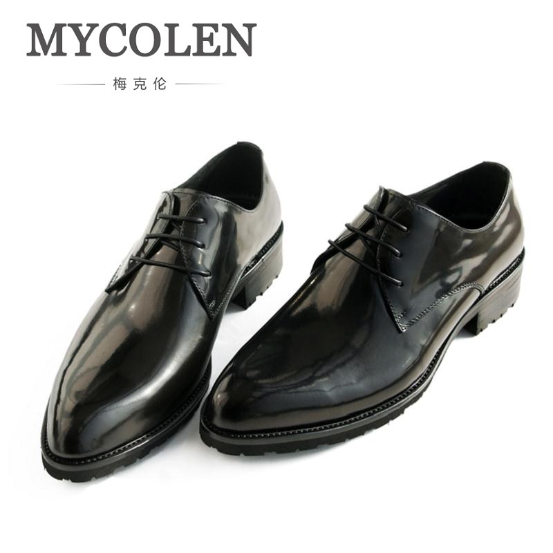 Mycolen Breathable Men Formal Shoes Pointed Toe Patent Leather Black