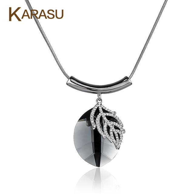 Luxucy Real White Gold Filled Oval Leaf Design Crystal Platinum Plated Pendant Snake Chain Necklace for Women Jewelry Gifts