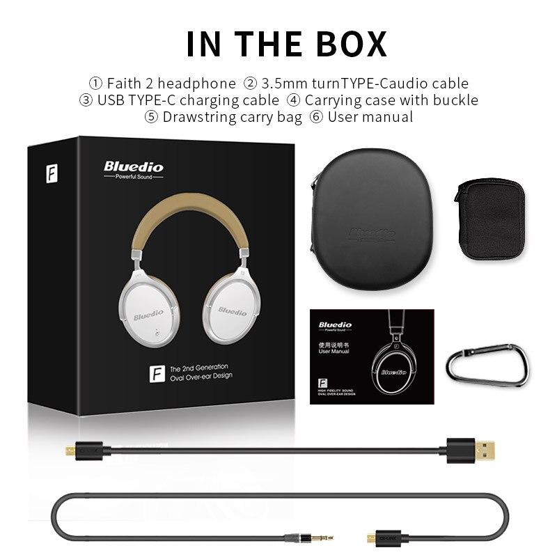 2017 New Bluedio F2 activa de ruido cancelación de Bluetooth inalámbrico Auriculares auriculares con micrófono para teléfonos - 6