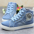 High Top Spring Autumn Women's Vulcanize Shoes 2017 New Arrival Lace Up Breathable Casual Shoes For Woman Denim Canvas Shoes