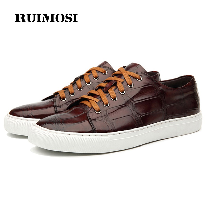 RUIMOSI New Arrival Man Casual Shoes Genuine Leather Cow Platform Comfortable Loafers Round Toe Lace up Outdoor Men's Flats GD90