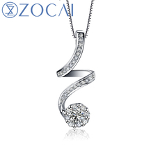 ZOCAI 0 27 CT 18K White GOLD JEWELRY DIAMOND Pendant 925 STERLING SILVER CHAIN Necklace D01159