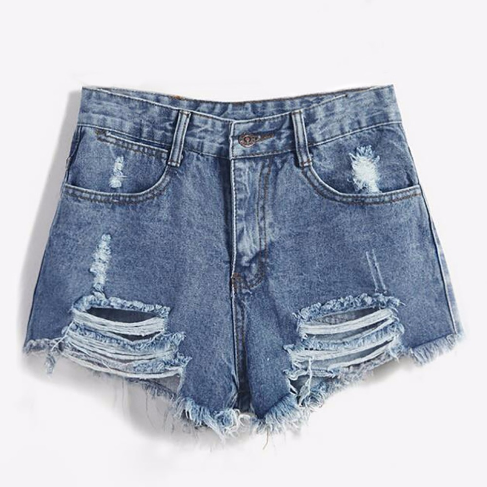 2018 Brand Vintage ripped hole fringe blue denim   shorts   women Casual pocket jeans   shorts   summer girl hot   shorts   fashion sexy