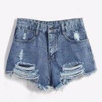 2018 Marca Vintage strappato hole frangia blu denim shorts donna Casual pocket jeans shorts estate della ragazza bicchierini caldi sexy di modo