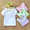 2017 Verano camiseta de la Muchacha Muchachas Del Niño Tops Peter Pan cuello de Algodón de Manga Corta Camisas Blancas Blusa para Las Niñas Los Niños ropa