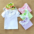 2017 camiseta Menina do Verão Da Criança Das Meninas Encabeça Peter Pan gola de Algodão de Manga Curta Camisas Blusa Branca para As Crianças Meninas roupas