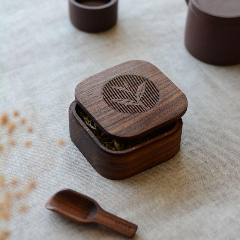 Chinese Tea Solid Wood Tea Caddy Bucket Portable Tea Boxes Black Walnut Travel Tea Accessories Gift Box Packaging