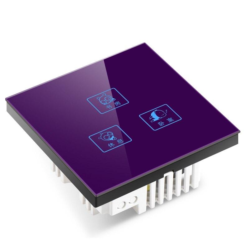 1 pièces C8 intelligent tactile interrupteur verre trempé panneau trois ouvert double contrôle capacitif écran tactile personnalisation
