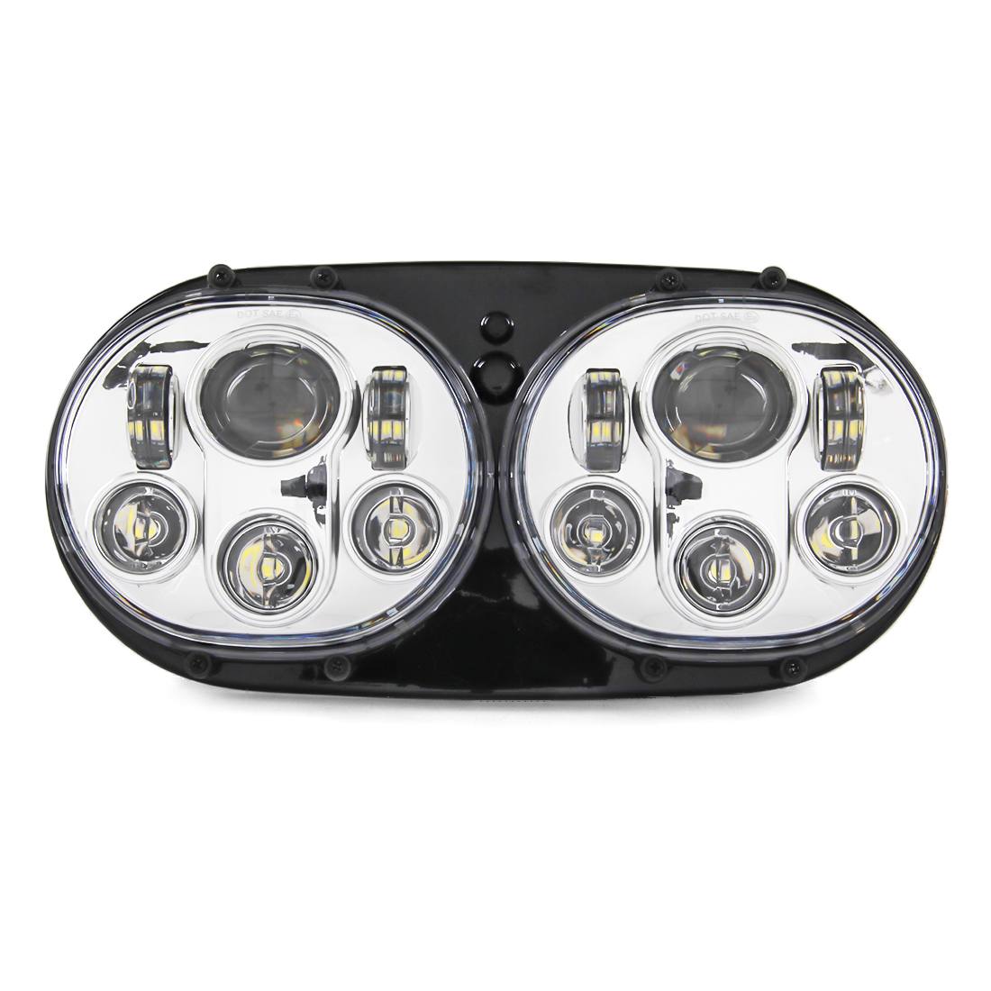 Chrome LED Dual Headlight 5.75 5-3/4 LED Daymaker Projector Hi/Low Beam Light for Harley Road Glide Ultra Road Glide FLTR/CVO