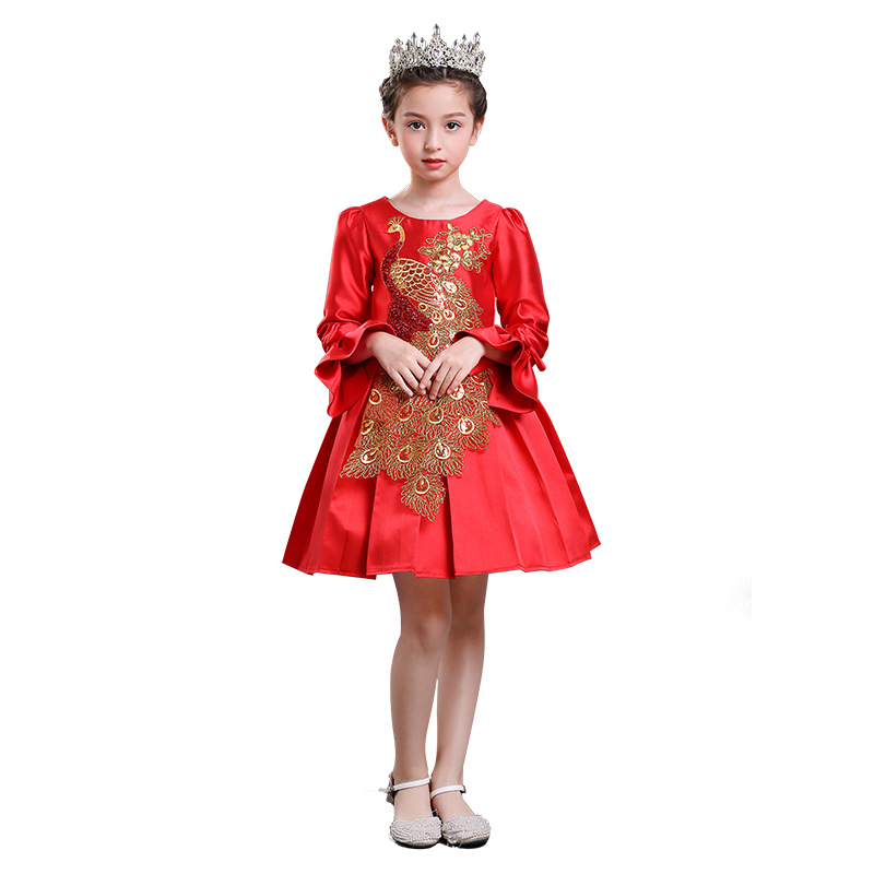 New year winter sleeve Chinese peacock embroidery girls dress birthday costume for kids age 4 5 6 7 8 9 10 11 12 13 14 years 2017 girls winter dress new year clothes for kids birthday elegant dresses big bow collar for age 5678910 11 12 13 14 years old