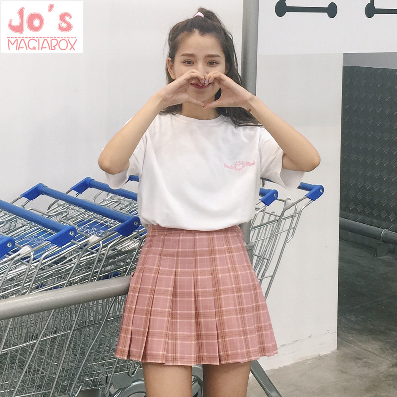 New Spring high waist ball pleated Plaid a-line sailor skirts Harajuku Tutu skirt Large Size Japanese school uniform