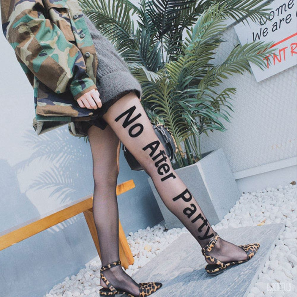 2017 New Fashion Sexy Women Elastic Transparent Tights Girls Paragraphs Letters Thin Black Pantyhose Spring Summer Autumn