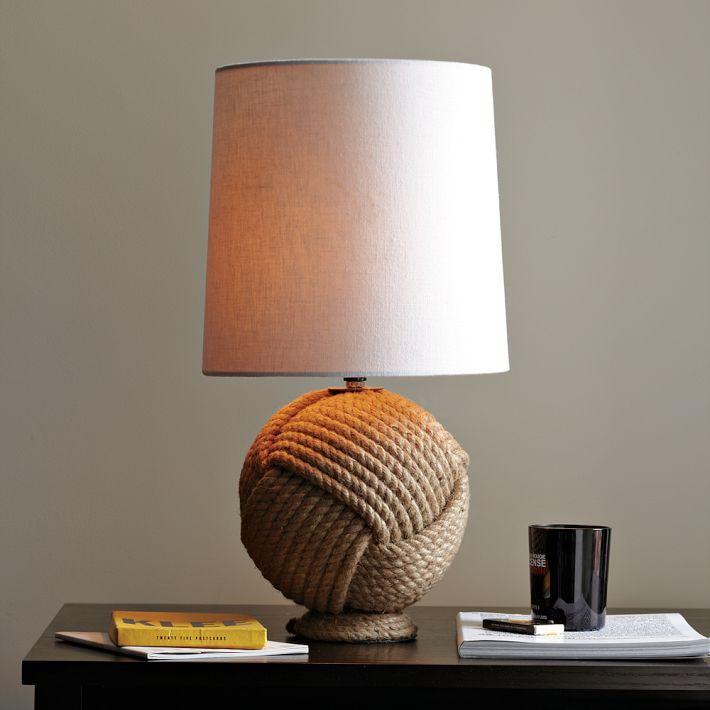 Modern brief natural vintage hemp rope table lamp bedroom bedside ...