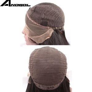 Image 5 - Anogol 180% צפיפות שיער טבעי כהה חום Ombre בלונד ארוך גוף גל מלא שיער פאות סינטטי תחרה מול פאה עבור נשים