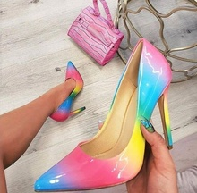 Sexy Rainbow Patent Leather Wedding Shoes Bride Pointed Toe 12CM Stiletto Heels Pumps Women Shoes Customized Real Photo цена