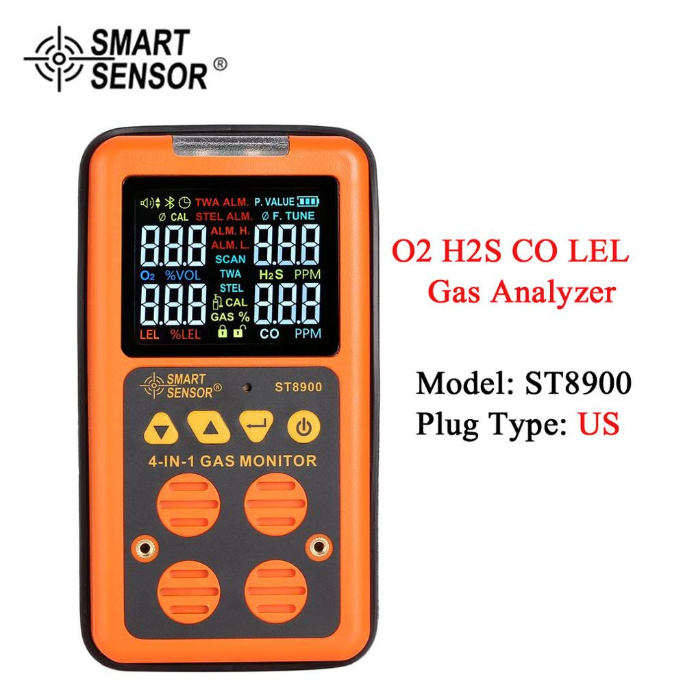 SENSOR inteligente 4 en 1 Detector de Gas Digital O2 H2S CO LEL analizador de Gas Monitor de aire probador de fugas de Gas medidor de monóxido de carbono ST8900