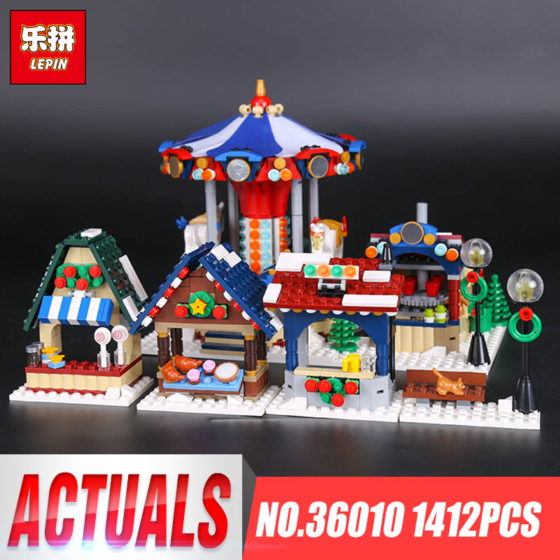 Фотография Lepin 36010 Genuine 1412Pcs Creative Series The Winter Village Market Set 10235 Building Blocks Bricks Children Christmas Toys