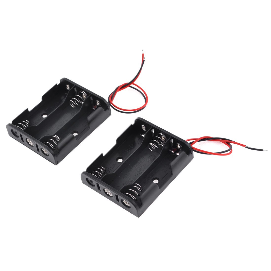 2 Pcs Black Red Cable Plastic 3 x 1.5V AA Batteries Cell