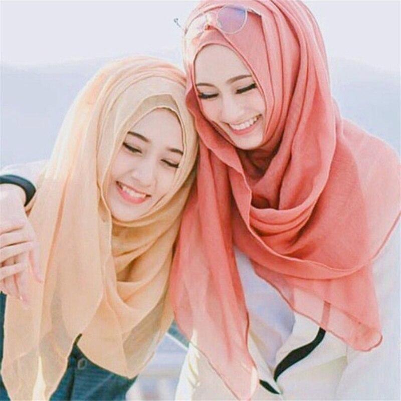 Wholesale Price 100*180cm Women Muslim Hijab Scarf Islamic Thin Headscarf Foulard Femme Soft Long Soild Shawl Head Wraps Stole