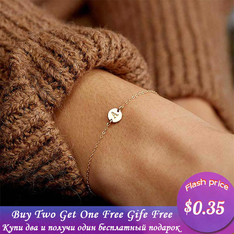 2019 Fashion Women's Bracelets Gold Colour Adjustable Metal Letters Romantic Round Bracelet Lovers Gift Party Jewelry Wholesale