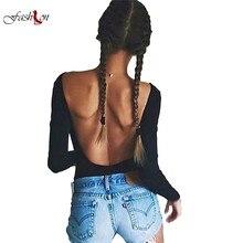 Размеры S-L осень спинки Песочники пикантные с длинным рукавом Для женщин боди черный укороченный Топы Blusa combinaison короткие роковой American Apparel