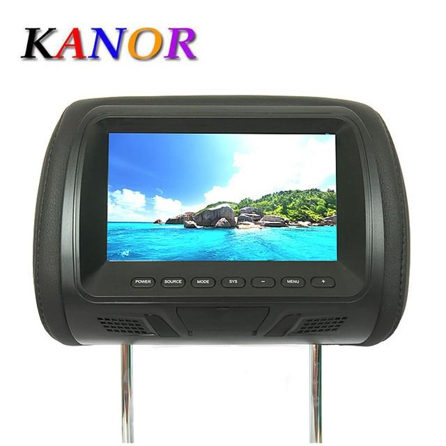 KANOR Car Monitor 7 inch LCD digital screen Car Headrest monitor adjustable distance 105 -230MM gray black Beige 2 audio input