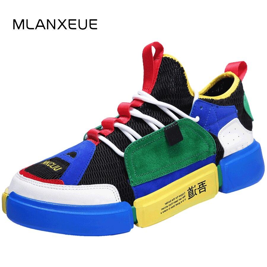 MLANXEUE Neue Unisex Casual Schuh Air Atmungsaktive Mix Farbe Liebhaber Schuhe Non-slip Männer Schuhe Plus Size36-44 Casual Männlichen schuhe