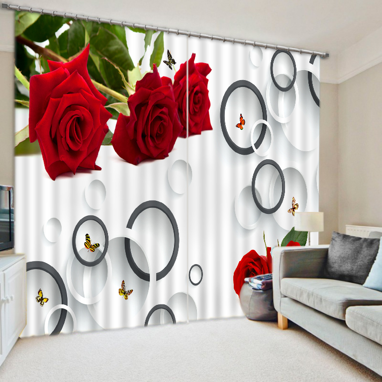 European Printing Curtains Rose Decoration 3D Curtains For Living Room Bedroom Home Decor Hotel Drapes Cortinas Shade Blackout