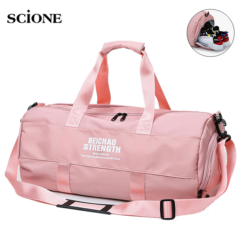 Sack Fitness Gym Bag For Women Travel Duffel Yoga Handbag Training Weekend Shoulder Bags Dry And Wet Sac De Sport Gymtas XA793WA