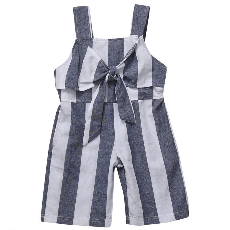 Summer Baby Girls Kid Girl Jumpsuit Striped   Romper   Sunsuit Outfit Fashion Halter Sleeveless Clothes Casual Cute   Rompers