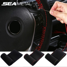 Car-Steering-Wheel-Cover Needles Car-Accessories DIY Braid 38cm on with And Thread Artificial-Leather