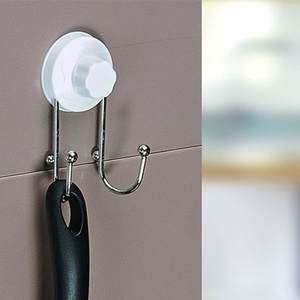 Hot Stainless steel sucker hook Suction wall two linked hook 7.5*12.5 Free shipping